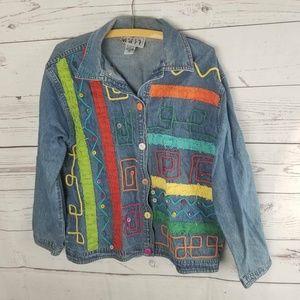 Keren Hart Womens Shirt Jacket Blue Button Up 90's